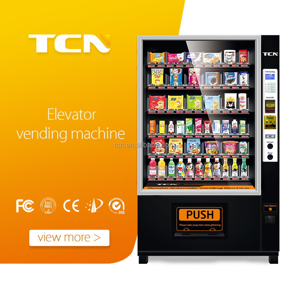 Belt vending machine with lift system for salad/fruit sale