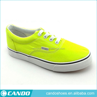 fashion design fluorescent yellow canvas flat shoes womens shoes