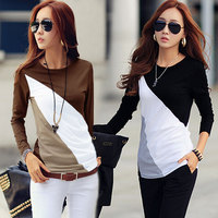 New Fashion Design Fitted Tops Tee Cotton T Shirt Women's Casual Ladies Autumn Long Sleeve Patchwork Slim Blouse