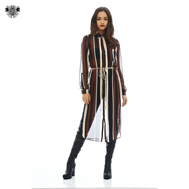 The casual long sleeve style design striped women Shirt Dress