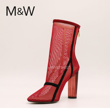 Fashion summer hollow ankle boots red high heel boots