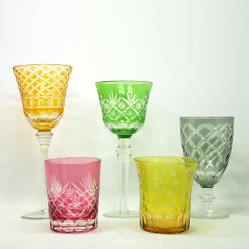 Handblown colored drinking cocktail wine glasses