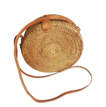 Plain Weave Leather Closure Rattan Handwoven Round Straw <strong>Bag</strong>