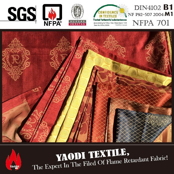 cheap polyester IFR fabric for curtain ,sofa cover & table clothes equivalent to travira cs standard pass BS5867,NFPA701