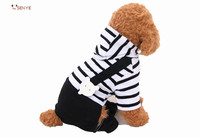 New Design Cheap Dog Clothes Black White Stripe Designer Dog Clothes With Four Leds Pet Clothing