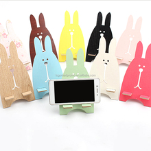 Wood material rabbit shape mobile phone holder, bracket