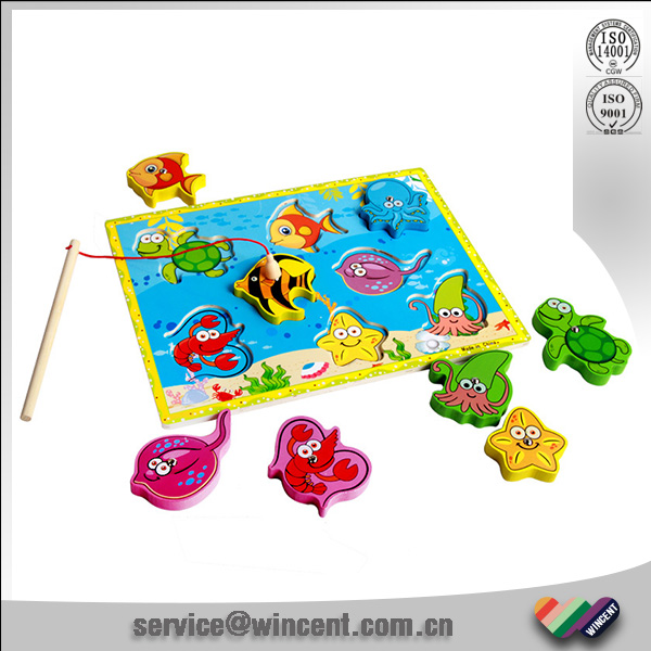 Educational wooden board magnetic fishing puzzle toys for children
