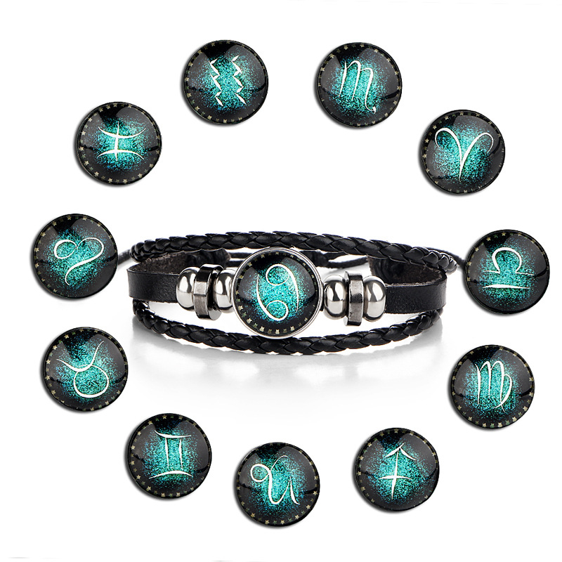 black leather braided zodiac bracelet,Virgo/Gemini/Leo star sign moon & pumpkin leather bracelet