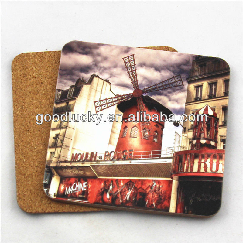 Hot selling full color printing MDF square cork coaster