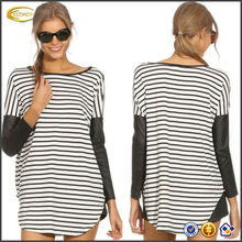 2014 Fashion Women's Loose Stripe Blouses Long Sleeve O-Neck Lady Casual Top Shirt OEM supplier
