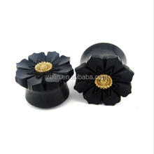 Black Ear Stretcher Piercings Organic Wood Ear Plugs Gauges Fake Wood Plug Decorative Ear Wood Plug