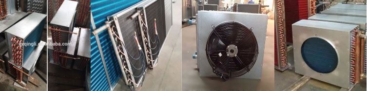 Refrigerator copper fin type air cooled condenser coil