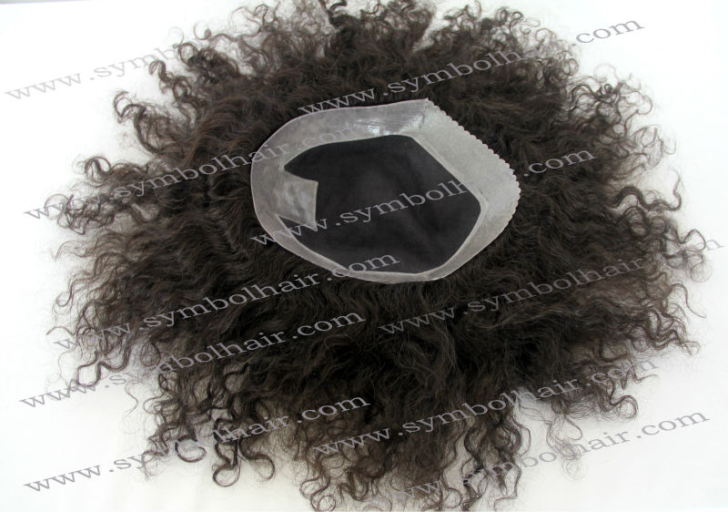 6inch 1b# brazilian hair toupee for men