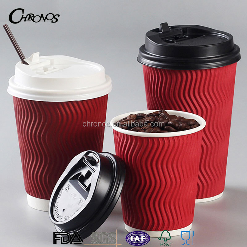 High Quality Ripple Wall Paper Coffee Cups with Lids