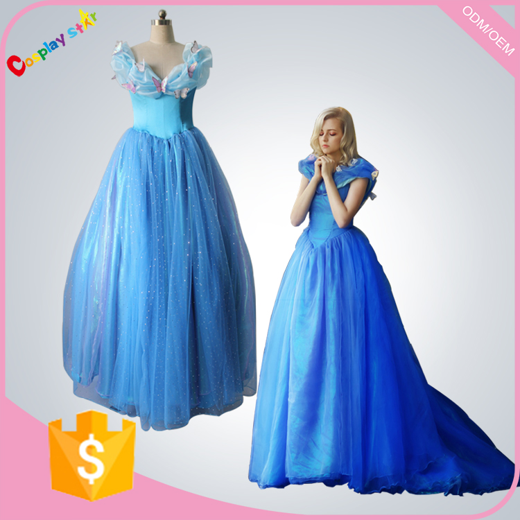 New movie 2016 Princess Cinderella dress for adult Cinderella cosplay costume Cinderella blue dress wedding women