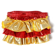 red and gold leather ruffled baby girls mermaid bloomers