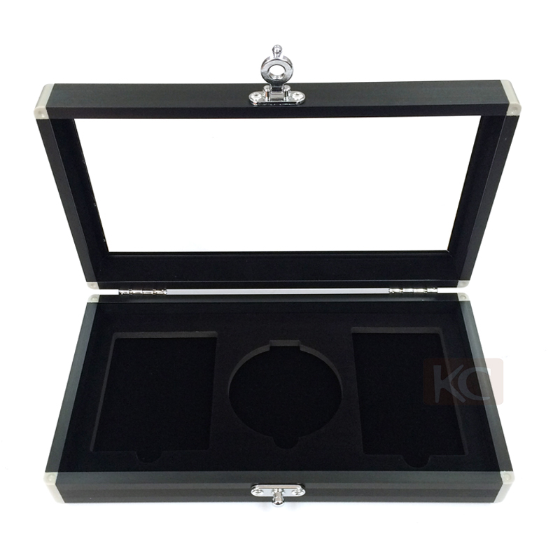 Custom Aluminum carrying jewelry display box, small metal jewelry box with soft eva inside