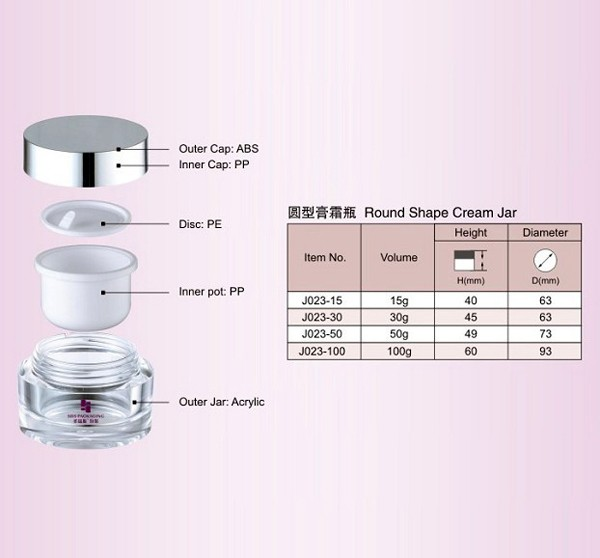 SRS arcylic round shape cosmetic packaging jar