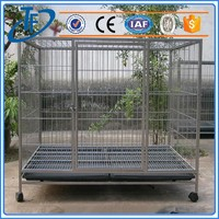 low price black powder coated dog cages and folding tube dog cage with wheels