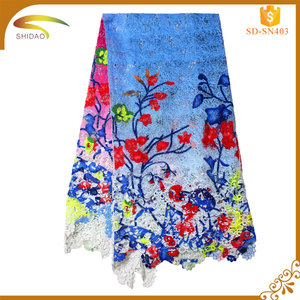 Custom high quality royal blue african swiss voile lace fabric;blue cord lace fabric SD-SN00403