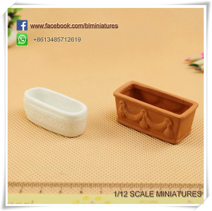 2 Pc s Miniature Ceramic 1:12 Scale Pretend Play Dollhouse Window Boxes