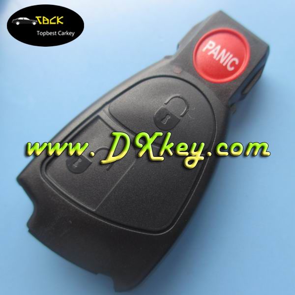 2+panic button remote key cover for car key shell mercedes benz blank key no logo