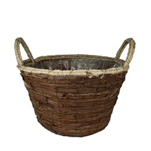 Natural Handmade Bark Woven and Corn Rope Flower Basket Pot with Handle For Garden Planting Plants Pot Holders