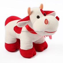 Stuffed Animal Valentine Gift Red Cow Plush Soft Toy With Heart Wholesale Custom Cute Plush Toy Cow