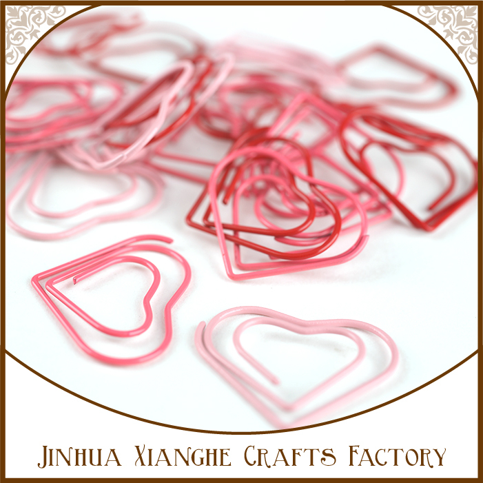 custom red and pink color heart shaped metal design paperclip