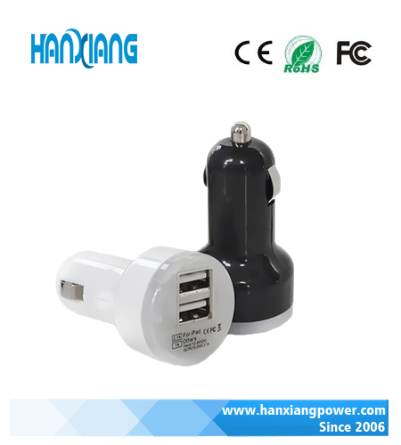 Hot sale dual port USB car battery charger electric car charger for mobile phone smart watch