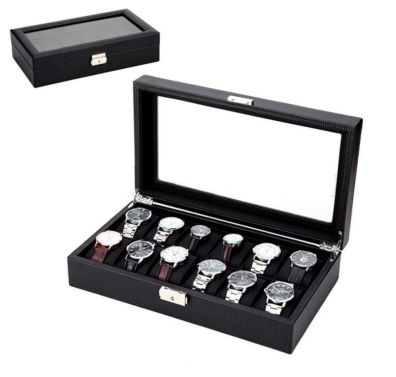 Collector Packaging Luxury Storage New Design Black Leather 12 Carbon Firber Watch Display Box