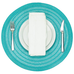 "Ombre Stria Round Placemat (Set of 4), polyester, 15"" RD"