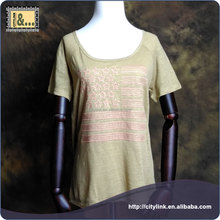 Hot sale Latest style 100% linen flax ,heavy weight,ladies short sleeves t shirt