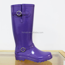 summer knee high fashion purple rubber rain boots wholesale