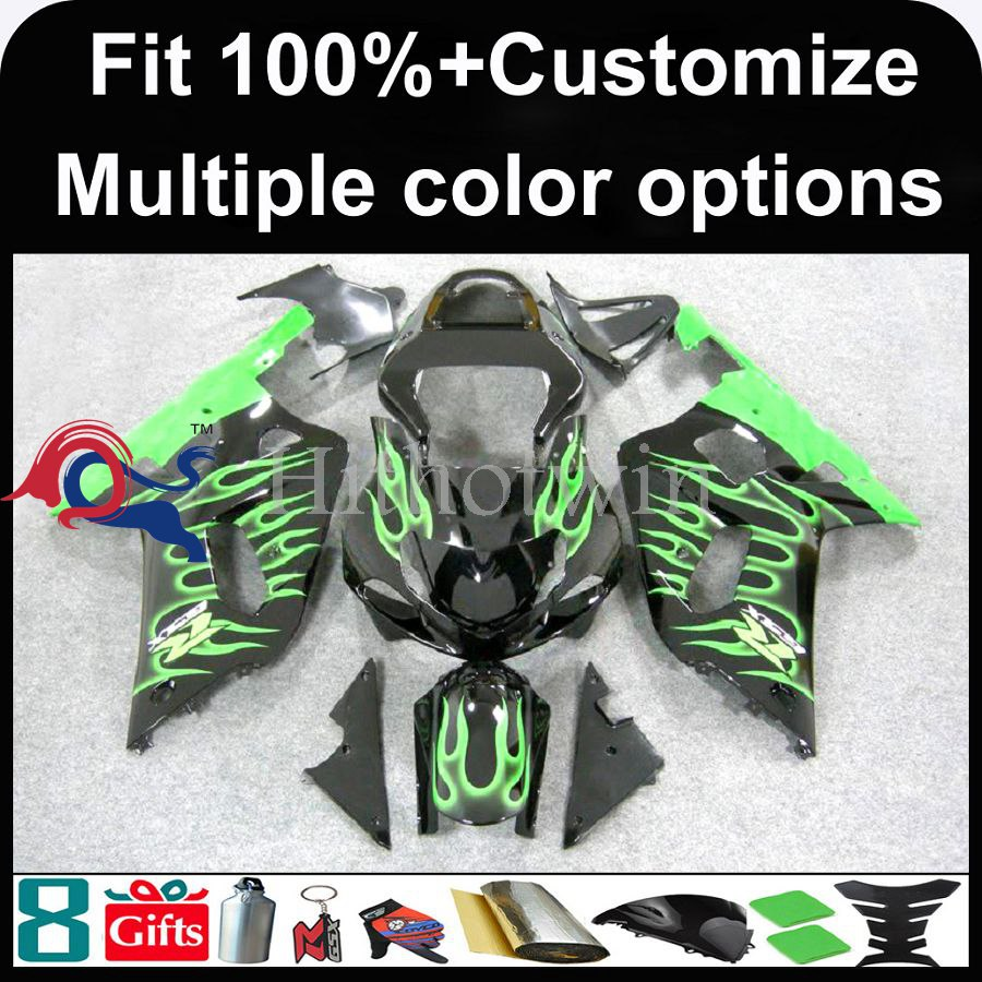 INJECTION MOLDING panels ABS green flames Fairing For Suzuki K1 GSXR-600 GSXR-750 2001 2002 2003 Kit Set Fit GSXR600 GSXR750 GS