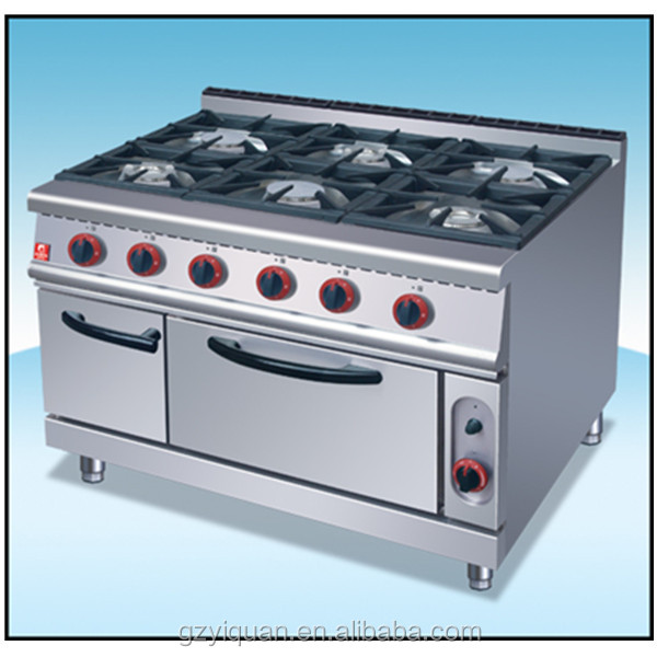 Heavy duty 6 burners gas range with storage cabinet, kitchen cooking range