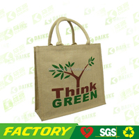 China manufacturer Customized jute shopping bag , Eco Bamboo Handle jute bag