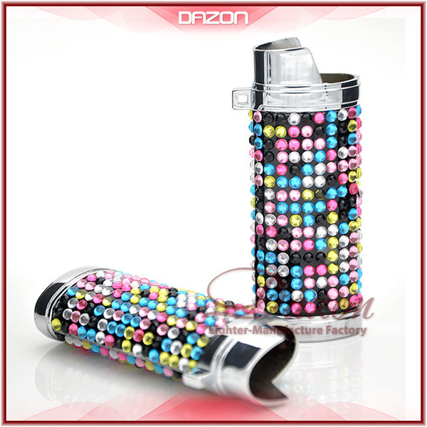 Metal Diamond Lighter Case Bic Lighter Case with Grid Diamond