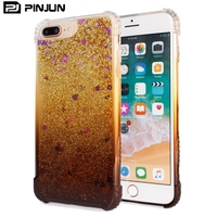 Fashion anti-fall design gradual change color star liquid quicksand clear phone cover for iphone 8 plus soft case
