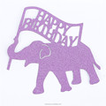 Custom glitter paper elephant happy birthday cake topper