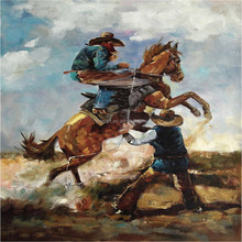 High Quality Pure Handmade Abstract Western Cowboy Oil Painting On Canvas