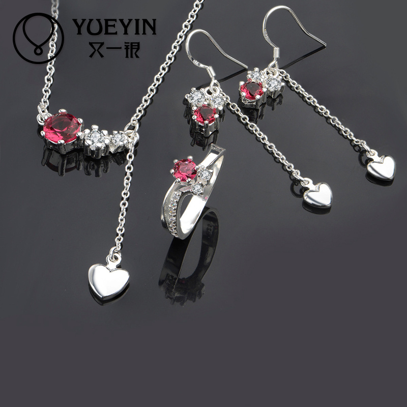 Popular red zircon gold supplier silver plated women necklace and <strong>accessories</strong>