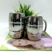 Eco friendly Barrel Shaped double wall stainless steel coffee cup