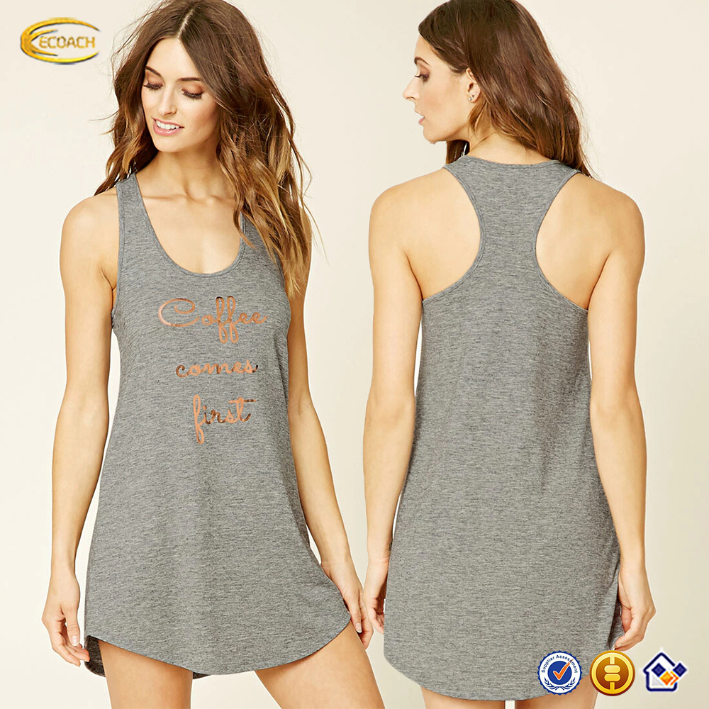 Ecoach high quality super soft round neckline grey color screen print knit long racerback women's tank top