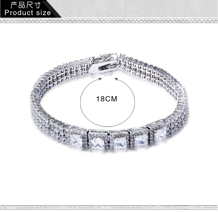 Big Stone Jewelry Zircon stones Classic Bridal Bracelets White Gold Color Jewellery