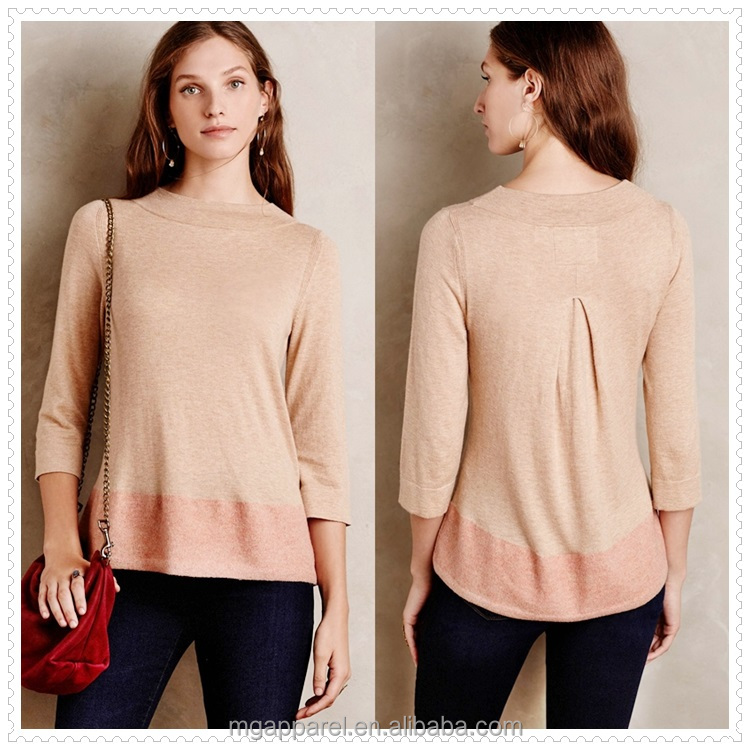OEM high quality cheap long sleeves cotton cashmere knit sweater designs for women