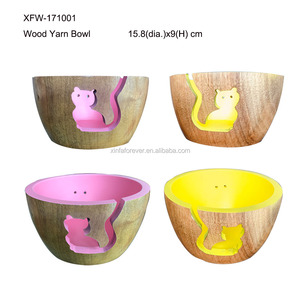 knitting accessories carved wooden yarn bowl for wool