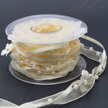 Trendy 3 Strings Flower Beaded Garland, Pearl String, Satin Ribbon and Organza Ribbon,10m/roll