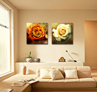 Wall Art Decorative 2pcs Grouping Yellow Rose Flower Oil Painting on canvas