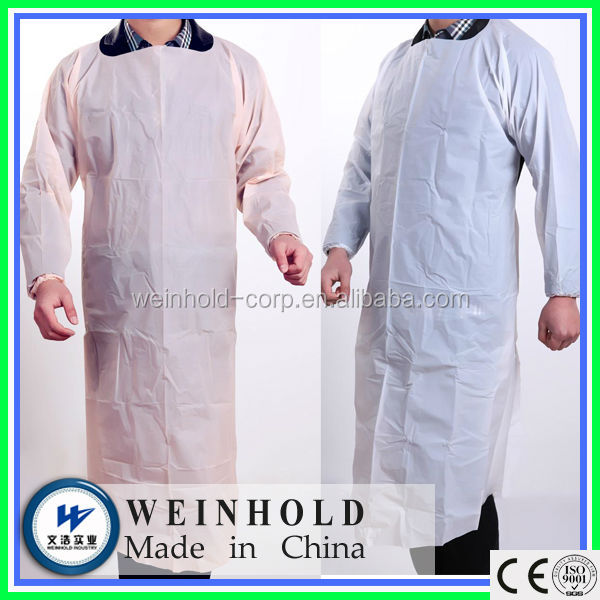 Medical operation CPE gown with long cuffed sleeves